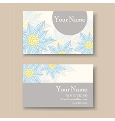 Business card with blue flowers vector