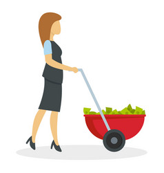 business woman wheelbarrow money icon flat style vector image