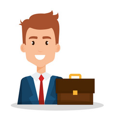 Businessman with portfolio avatar vector