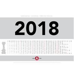 Calendar 2018 horizontal template design vector