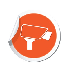 Camera icon orange label vector