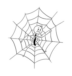 Cartoon of businessman trapped in spider web vector