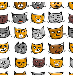 cat faces seamless pattern for your design vector image
