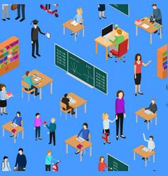 children student and teacher seamless pattern vector image