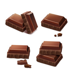 Chocolate pieces realistic vector