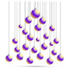 christmas and new year postcard with balls vector image