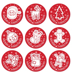 Christmas round cards set vector