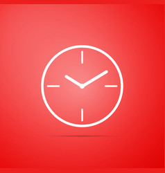 clock icon isolated on red background vector image