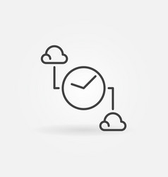 clouds with clock outline icon cloud vector image