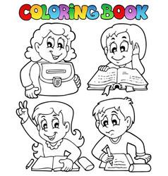 Coloring book school topic 4 vector