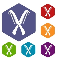 Combs icons set vector image