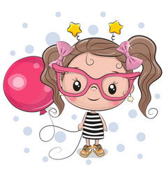 Cute girl with pink glasses vector