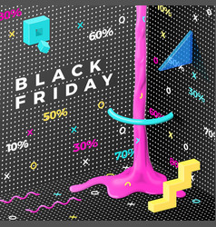 dark abstract black friday memphis style vector image