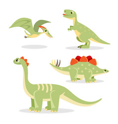 Dinosaurs collection of funny icons vector