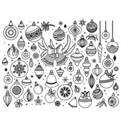 doodle set of christmas decoratins vector image