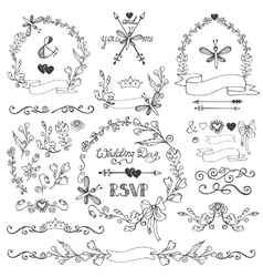 Doodles floral decor setBorderswreathelements vector image