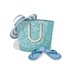 Fashion summer accessories hat bag and flip vector image