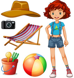 Female hipster and beach set vector