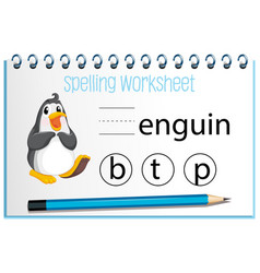 Find missing letter with penguin vector
