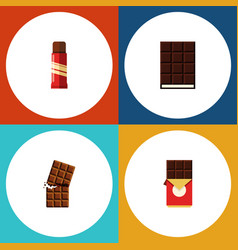 Flat icon cacao set of wrapper dessert chocolate vector