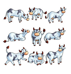 Funny black and white spotted cow farm animal vector