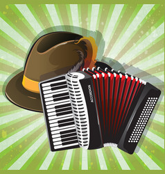 German hat and accordion vector