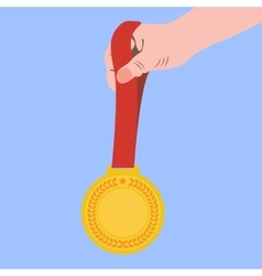 Gold medal champion in the hand vector