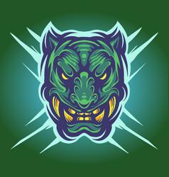 Green tiger head mascot logo vector