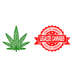 Grunge legalize cannabis stamp and linear cannabis vector