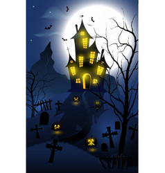 Halloween background with haunted house tombs vector