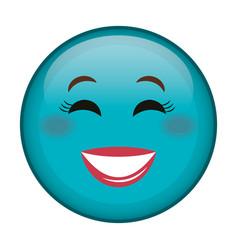 Happy face emoticon kawaii character vector