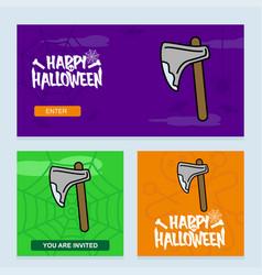 happy halloween invitation design with axe vector image