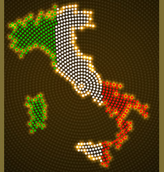 Italy map glowing radial dots with flag inside vector