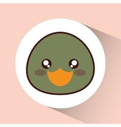 Kawaii duck icon Cute animal graphic vector