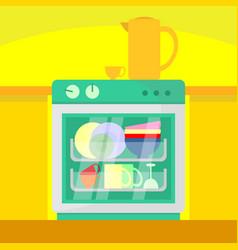 Kitchen dish washer home scene vector