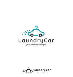 laundry logo template car hanger design concept vector image