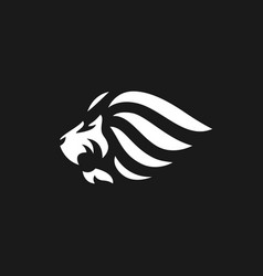 lion logo on black background vector image