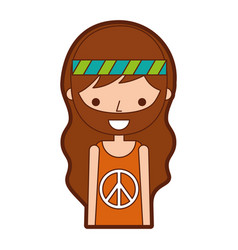 Man hippie lifestyle character vector