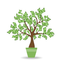 money tree in green ceramic pot green cash vector image