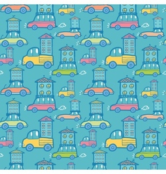 Moving houses on cars seamless pattern background vector