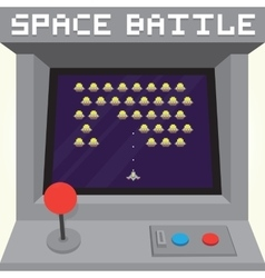 Old school pixel art style ufo arcade machine game vector