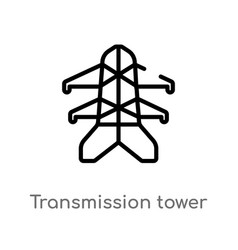 Outline transmission tower icon isolated black vector