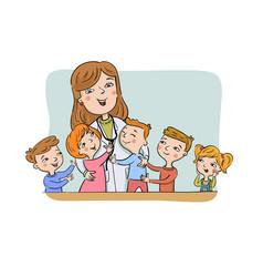 Paediatric doctor with children vector