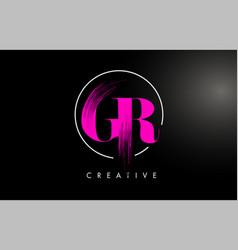 Pink gr brush stroke letter logo design vector