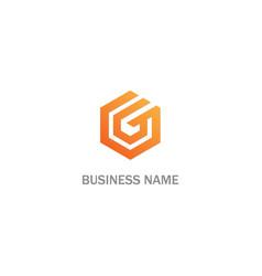 polygon g initial company logo vector image