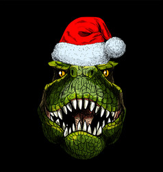Portrait t-rex in red santa hat on black bg vector