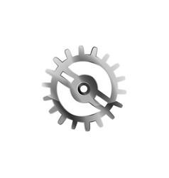 Realistic glossy metal cogwheel on white vector
