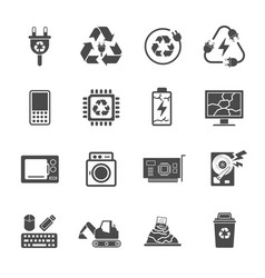 Recycling e-waste garbage contains such icons as vector