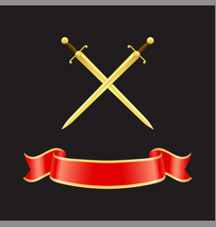 Ribbon waved banner and swords vector