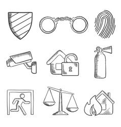 Safety and security sketch style icons vector image